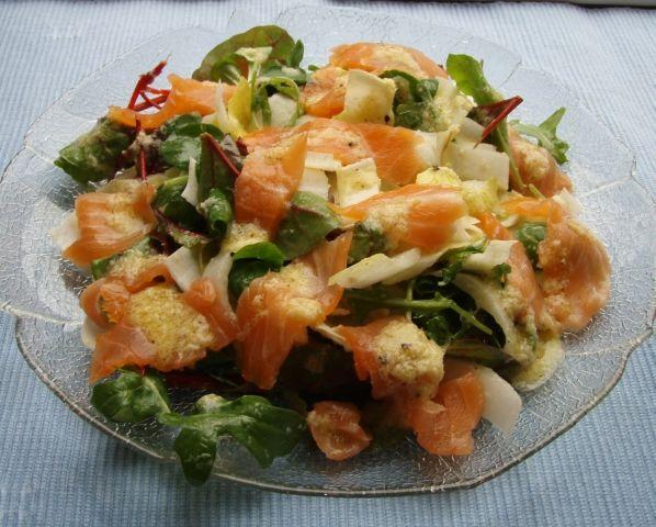 salat mit r ucherlachs und orangendressing ein kochmeister rezept. Black Bedroom Furniture Sets. Home Design Ideas
