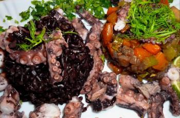 octopus an lauwarmen wurzelgem se salat mit zitronenreis ein kochmeister rezept. Black Bedroom Furniture Sets. Home Design Ideas